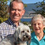 Long-time Summerland residents Peter and Fran Beulah, here with their dog Corky outside their home, have donated $30,000 to the South Okanagan Similkameen Medical Foundation to help equip the new Patient Care Tower at Penticton Regional Hospital.