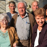 Joan and Anthony Vant Geloof are joined by sons John (back row, centre left) and Bill with Yurle, in presenting a significant donation to Janice Perrino and Walter Despot (left) of the South Okanagan Similkameen Medical Foundation. The funding will help provide medical equipment for the upcoming expansion of Penticton Regional Hospital.