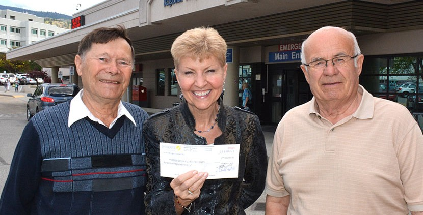 Mladen Bosnjak, left, and Zvonko Rendulic of the South Okanagan Croatian Club present a $20,000 cheque to Janice Perrino of the SOS Medical Foundation.  The donation will help equip the new patient care tower at Penticton Regional Hospital.