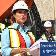 Premier Christy Clark addresses the crowd at the July 12 groundbreaking ceremony for the $312.5-million expansion of Penticton Regional Hospital.