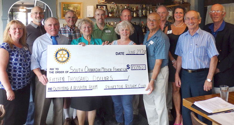 Princeton Rotary members present a $15,000 cheque to Walter Despot of Keremeos (front row, second from right), board chair of the South Okanagan Similkameen Medical Foundation.  The Rotary club hopes to complete its $30,000 donation to help provide the medical equipment for the Penticton Regional Hospital expansion after its annual Wine Festival at the Riverside Centre on Feb. 18.