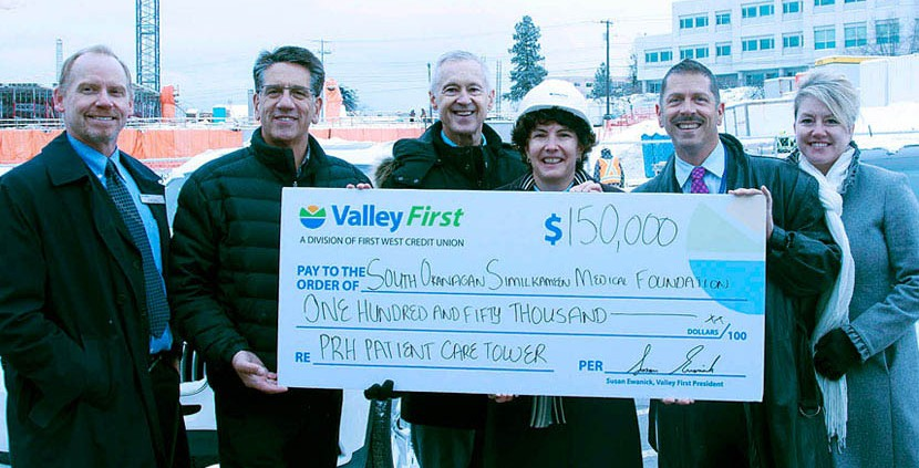Valley First president Susan Ewanick (centre right) presents a $150,000 donation to the SOS Medical Foundation. Also on hand (from left) are Roger Houle of Valley First, Penticton MLA Dan Ashton, Foundation executive director Carey Bornn, Carl Meadows of Interior Health and Kim DeSimone of Valley First.