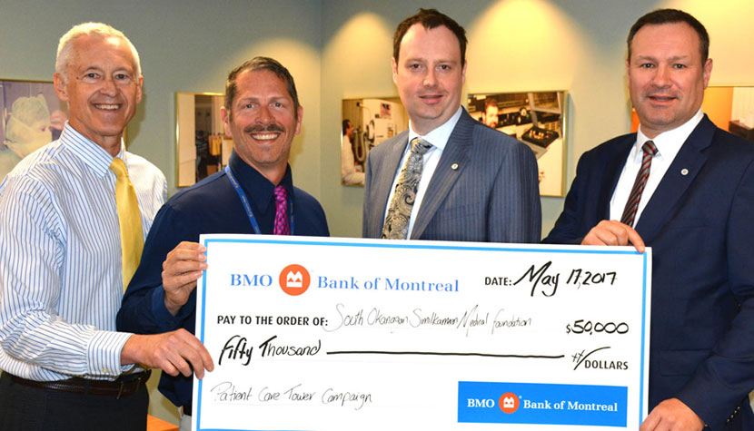 BMO Financial Group is donating $50,000 to the South Okanagan Similkameen Medical Foundation's $20-million campaign to provide the medical equipment for the Penticton Regional Hospital expansion.  BMO representatives Ian Teetzel and John Duff (centre right and right) present the cheque to Carey Bornn of the SOS Medical Foundation (left) and Carl Meadows of Interior Health.